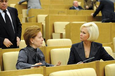 С депутатом Н. Комаровой (ныне губернатор Ханты-Мансийского АО) в Государственной Думе, 2008 г.